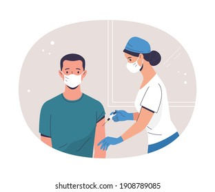 Coronavirus (COVID-19) Vaccination. Vector modern illustration of a young adult man and a doctor with a syringe. Isolated on abstract background