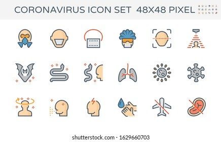 Coronavirus (covid-19) vector icon. Consist of mask, diagnostics, animal or disease carrier, lung, cell biology, patient symptom, spread, infection, hand wash, prevention. Thin line editable stroke. - Shutterstock ID 1629660703