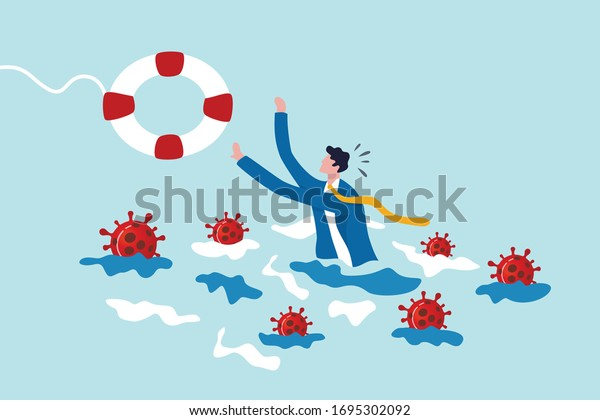 Coronavirus crisis help policy, business insurance or government stimulus to aid small business and entrepreneur to survive in COVID-19 outbreak, businessman try to hold life buoy with virus around.