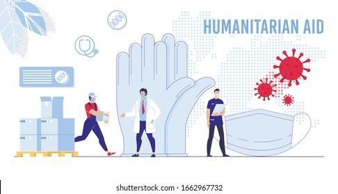 Coronavirus Crisis, Humanitarian Help for China, Exporting Special Protection for Medical Personnel Concept. Deliveryman Giving Box with Face Masks, Rubber Gloves to Doctor Flat Vector Illustration