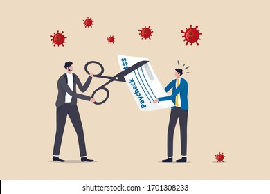 Coronavirus crisis make company to cut staff pay, cut salary to reduce cost make company, business to survive in COVID-19 collapse, boss business owner using scissors to cut employee pay check salary.