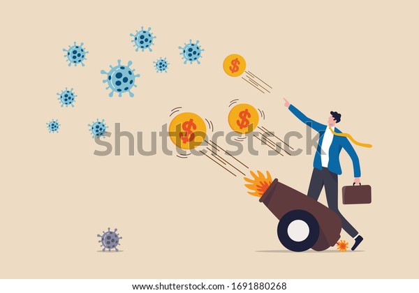 Coronavirus crisis money stimulus plan, money injection by FED, QE Quantitative Easing to help aid economic in COVID-19 Coronavirus lockdown, businessman use arsenal to shoot money to fight virus.