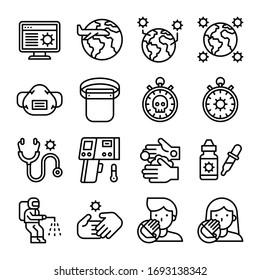 Coronavirus disease 2019 related icon set 3, line design