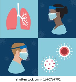 Coronavirus disease, COVID-19 infection. Health care workers in personal protective equipment. Nurses and Doctors inPPE, face mask and visor.