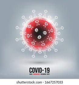 Coronavirus disease COVID-19 infection medical isolated. China pathogen respiratory influenza covid virus cells. New official name for Coronavirus disease named COVID-19, vector illustration