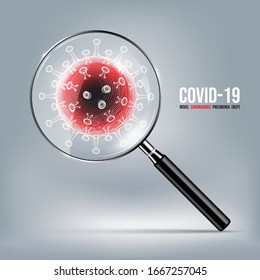 Coronavirus disease COVID-19 infection medical with magnifying glass on world map. New official name for Coronavirus disease named COVID-19, Coronavirus screening concept, vector illustration
