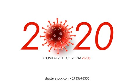 Coronavirus disease COVID-19 infection medical with 2020 typography and copy space. New official name for Coronavirus disease named COVID-19, Coronavirus outbreak in 2020, vector illustration