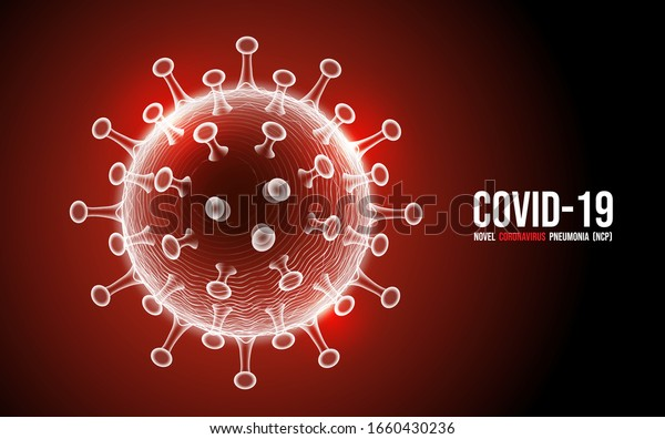 Coronavirus disease COVID-19 infection medical isolated. China pathogen respiratory influenza covid virus cells. New official name for Coronavirus disease named COVID-19, vector illustration