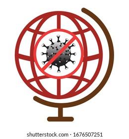 Das Symbol für den Stopp der Koronavirus-Krankheit. Grippe-Epidemie weltweit. Covid-19 signiert weltweit. Symbol für Virusinfektion wird angehalten. Krankheitsvorlage einzeln auf weißem Hintergrund. Bild der Vektorillustration.