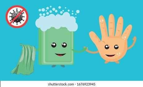 Das Symbol für den Stopp der Koronavirus-Krankheit.Wasch dir die Hände. Coronavirus-Symbol mit rotem Prohibit-Zeichen. Cartoon Vektorillustration Illustration des gefährlichen Corona-Virus COVID-19. Vektorillustration-Symbol.