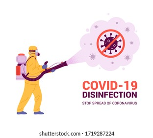 Coronavirus disinfection concept. Vector illustration of man in yellow hazmat suit with knapsack motor sprayer cleaning and disinfecting coronavirus. Isolated on white