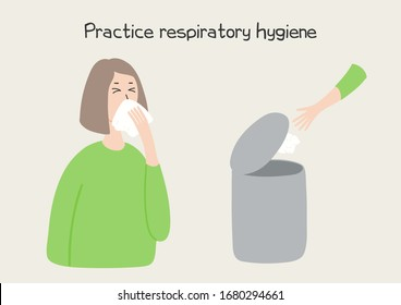 Coronavirus epidemic concept. Woman coughing in tissue and throwing it in bin, isolated. Hand drawn vector illustration. Poster, flyer. Flat style design. Covid-19 protection, prevention information.