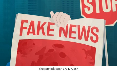 Coronavirus Fake News: Treatments, Misinformation And Conspiracy Theories. Unreliable And False Information Spreading Around The World. Debunking, Hoax, Junk News Concept. COVID-19 Vector Illustration