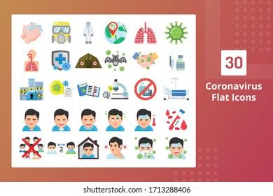 Coronavirus Flat Icons - Prevent The Spreading