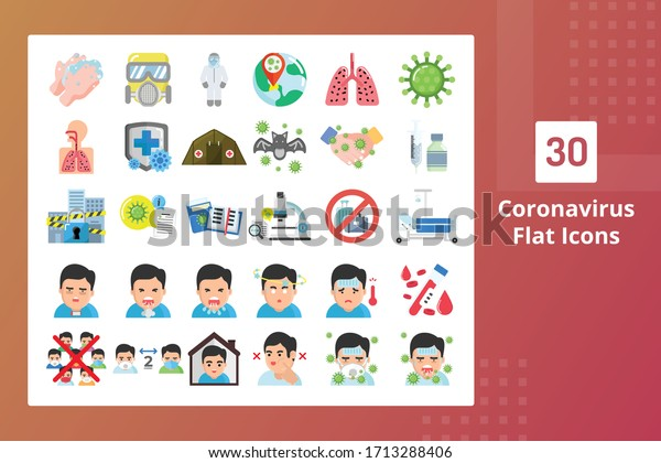 Coronavirus Flat Icons - Prevent The Spreading