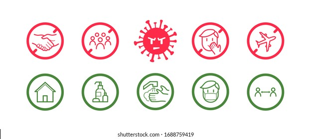 Coronavirus icon set for infographic with prevention tips and recommendations. Isolated corona virus flat signs with precautions and preventions to stop spreading. Vector, EPS 10