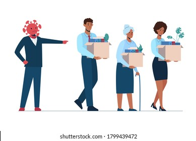 The coronavirus leaves people unemployed. A fired African man and women leave the office with a box in their hands. Job loss due to covid-19 virus, economic downturn. Dismissed employeest. Vector