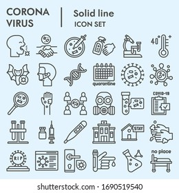 Coronavirus line icon set. Covid19 virus signs collection or sketches, nCoV epidemic web symbols, linear style pictogram package isolated on light blue background. Vector graphics