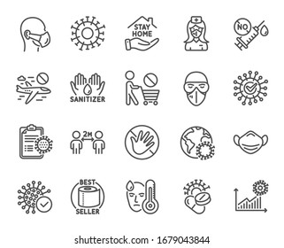Coronavirus line icons. Medical mask, washing hands hygiene, protective glasses. Stay home, hands sanitizer, coronavirus epidemic mask icons. Covid-19 virus pandemic, no vaccine, toilet paper. Vector