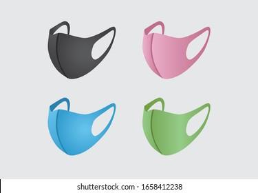 Coronavirus mask, Protective medical masks Various respirators for health care, Air pollution, Mask Vector, Doctor Mask, Coronavirus in China, Face mask protection, COVID-19, Flu, PM 2.5