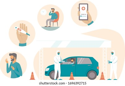 Coronavirus COVID19 mobile testing station working process. Man feels the symptoms calls for registration arrive at drive-thru test siteto give samples and get testing result on his phone.