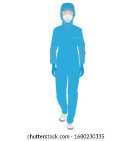 coronavirus : infirmière avec gants et masque de protection. Concept de précaution médicale. Illustration vectorielle dessin à plat d'une infirmière mâle.