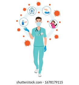 Coronavirus : infirmière qui nous montre les bons gestes. Concept de précaution médicale. Illustration vectorielle dessin à plat d'une infirmière mâle.