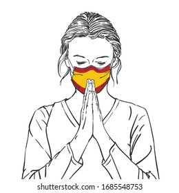 Coronavirus outbreak in Spain, Woman praying for Spain in spanish flag color medical mask with hands folded in worship, eyes closed in hope, Hand drawn illustration vector sketch