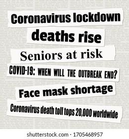 Coronavirus pandemic crisis newspaper titles. COVID-19 global epidemic. News headline collection vector.