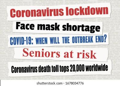 Coronavirus pandemic newspaper titles. COVID-19 global pandemic. News headline collection vector.