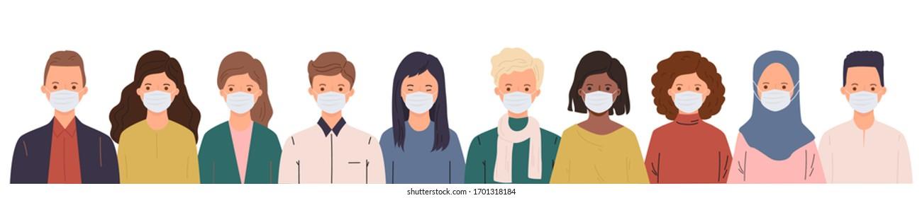Coronavirus pandemic. Novel coronavirus (2019-nCoV) covid-19, people in medical diy face mask. Concept of coronavirus. People in white medical face mask.