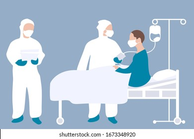 Coronavirus patient in hospital with workers in protective clothing. Vector illustration. Concept of novel coronavirus (2019-nCoV), coronavirus quarantine, patient treatment. EPS 10.