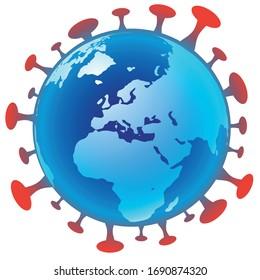Coronavirus : planète terre infectée par le virus. Illustration vectorielle de la planète. Illustration de conception à plat.