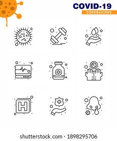 Coronavirus Precaution Tips icon for healthcare guidelines presentation 9 Line icon pack such as  pills; supervision; sports; medical; washing viral coronavirus 2019-nov disease Vector Design Elements