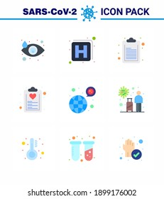 Coronavirus Precaution Tips icon for healthcare guidelines presentation 9 Flat Color icon pack such as coronavirus; worldwide; document; plan; healthcare viral coronavirus 2019-nov disease Vector