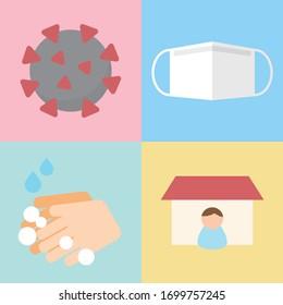 Coronavirus prevention. COVID-19 quarantine concept. COVID-19 prevention.  Stop dangerous virus.