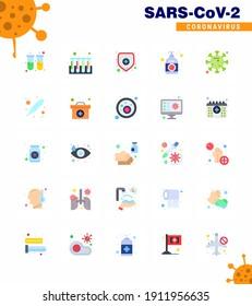 Coronavirus Prevention Set Icons. 25 Flat Color icon such as spread; hand sanitizer; health insurance; hand; cream viral coronavirus 2019-nov disease Vector Design Elements
