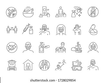 Coronavirus Prevention thin line vector icons. Isolated on a white background. Contains such Icons as Washing Hands, Outbreak Map, Man and Woman Wearing Face Mask and more. Editable Stroke.