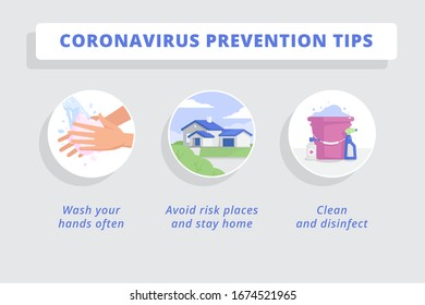 Coronavirus prevention tips. Three round icons illustrated in a flat style. Wash your hand, avoid risk places and stay home, clean and disinfect everything. Infographic.