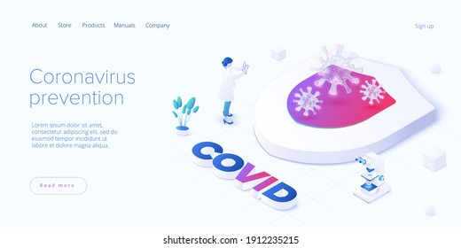 Coronavirus prevention or virus vaccination in isometric vector design. Shield as protective metaphor of covid antidote or antivirus vaccine. Pandemic background.