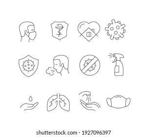 Coronavirus protection icons set isolated on white background