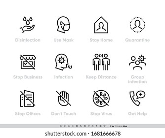 Coronavirus Protection Measures icon set. Vector Pack for infographic or website Contains such Icons as Disinfection, Use Mask, Stay Home, Quarantine, Stop Business, Stop Offices, Infection, Keep