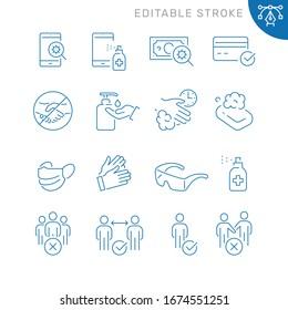 Coronavirus protection related icons. Editable stroke. Thin vector icon set