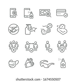 Coronavirus protection related icons: thin vector icon set, black and white kit