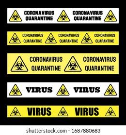 Coronavirus quarantine banner vector sign set. Covid-19 pandemic. Virus infection danger warning.