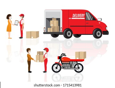 Coronavirus, quarantine delivery. Online order and product express or parcel delivery concept. Courier with medical, protective, respiratory mask driving bicycle and car. Vector illustration