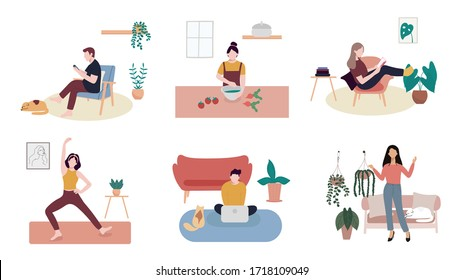Coronavirus Quarantine, Stay at home, people work at home, Cocking, reading a book, practicing yoga, Gardening and listening  to the music. Vector illustration.