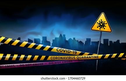 Coronavirus quarantine warning tapes and sign of viral hazard. Quarantined city. Coronavirus epidemic covid-19. Epidemic barrage lines. Pandemic covid-19. Vector grunge template