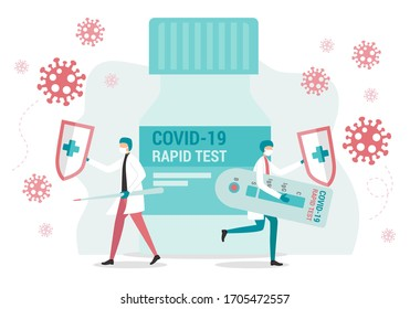 Coronavirus rapid test concept. Two doctors fighting Novel Coronavirus Covid-19. Concept of healing disease caused by the Coronavirus outbreak. Flat style ilustration.