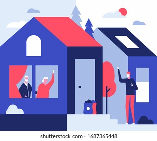 Coronavirus risk group - flat design style illustration. Protective measure, quarantine idea. Elderly people staying at home. A son visiting senior parents, bringing goods, leaving bags at the door